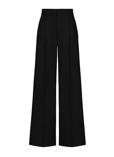 Nocturne Pilili Geniş Paça Pantolon Siyah